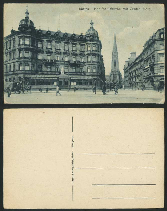 Germany Old Postcard MAINZ Bonifaciuskirche mit Central Hotel Church Street View
