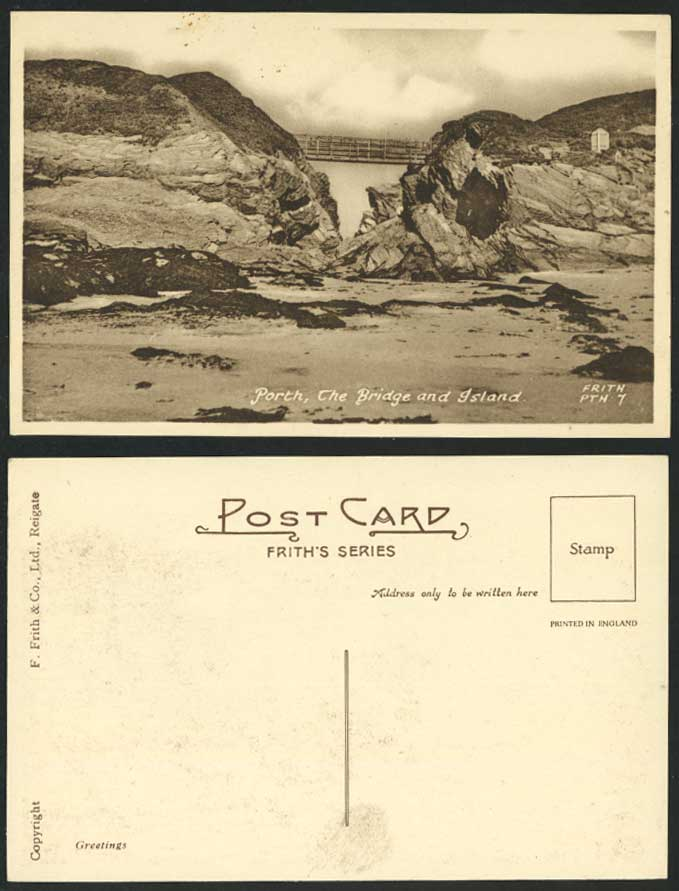PORTH The Bridge Island Cliffs Rocks Beach Old Postcard Frith's Series Greetings