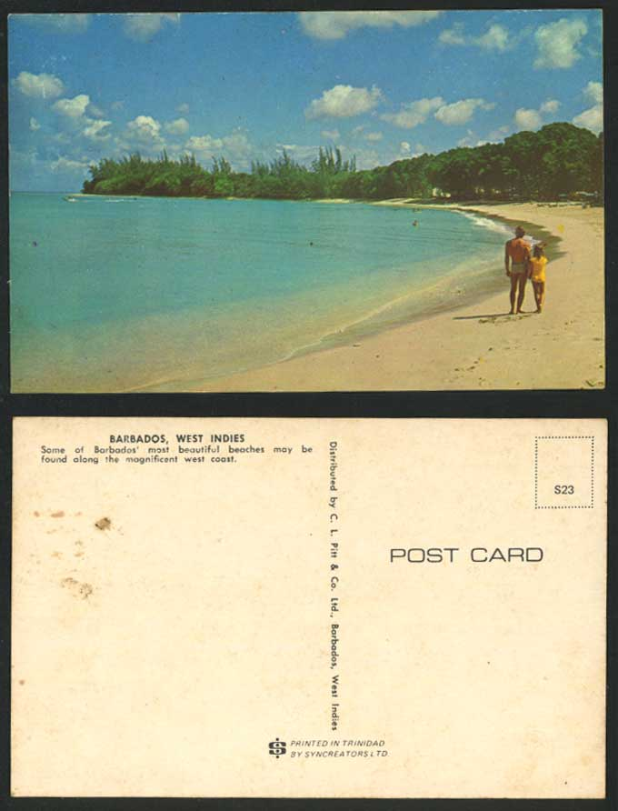 Barbados Beach West Indies c1960 Postcard West Coast Most Beautiful Beaches Girl