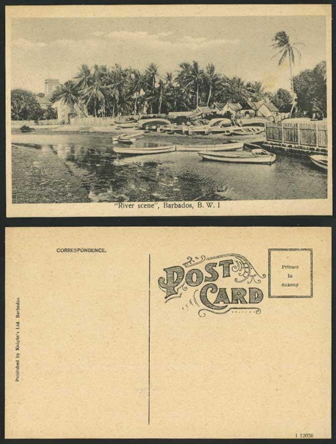 Barbados Old Postcard River Scene, Boats Harbour Palm Trees Church B.W.I. Indies