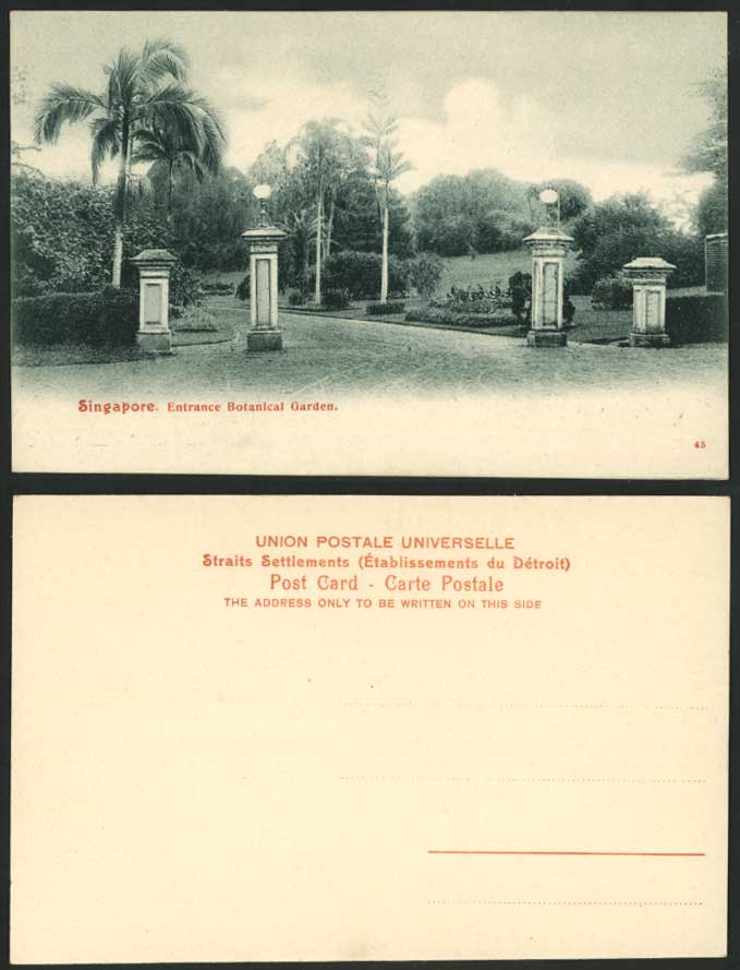 Singapore Old Postcard Entrance Gate Botanical Garden