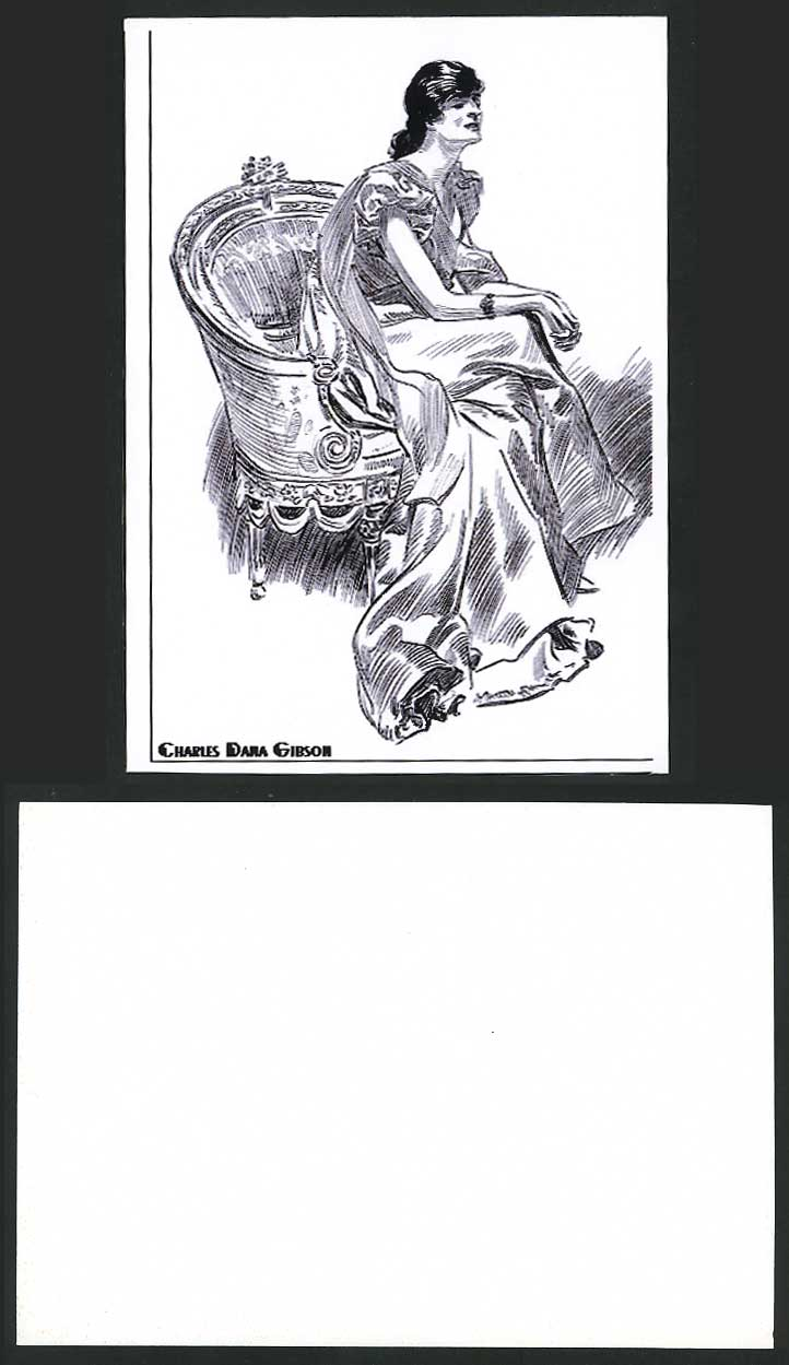 Charles Dana Gibson Artist Drawn Card Glamour Lady Glamorous Woman Fashion Couch