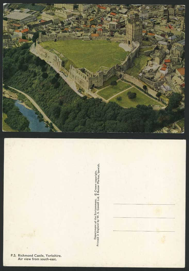 Richmond Castle Yorkshire, Air View from South East, Aerial View Colour Postcard