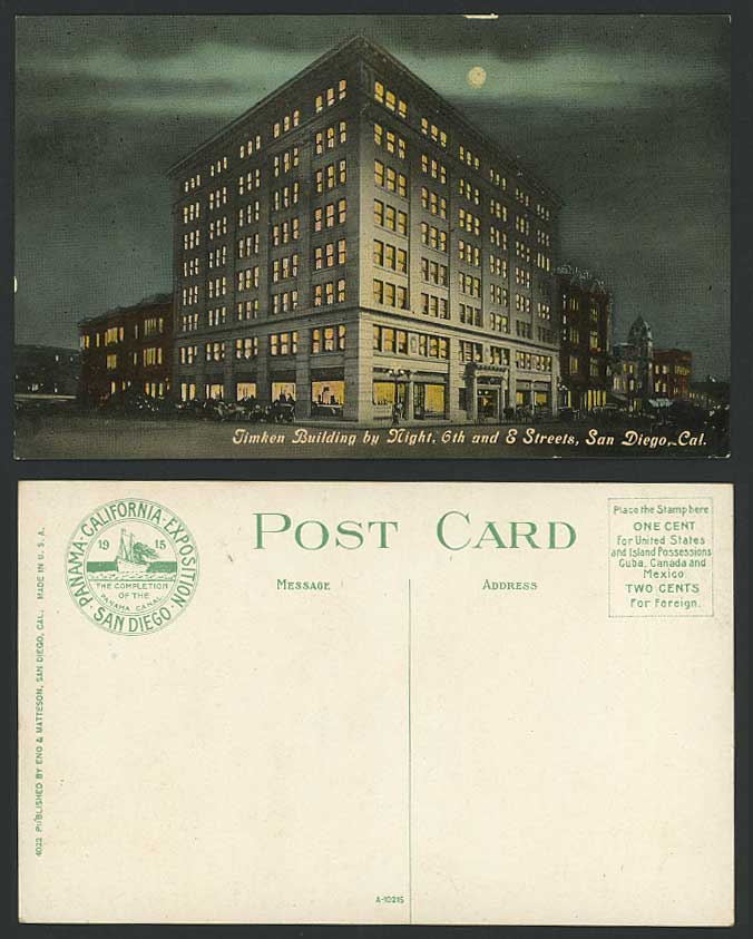 USA Timpkin Building by Night 6th & S. Streets San Diego California Old Postcard