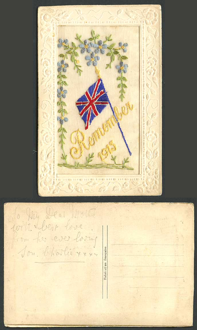 WW1 SILK Embroidered Old Postcard Remember 1915, British Flag, Greetings Novelty