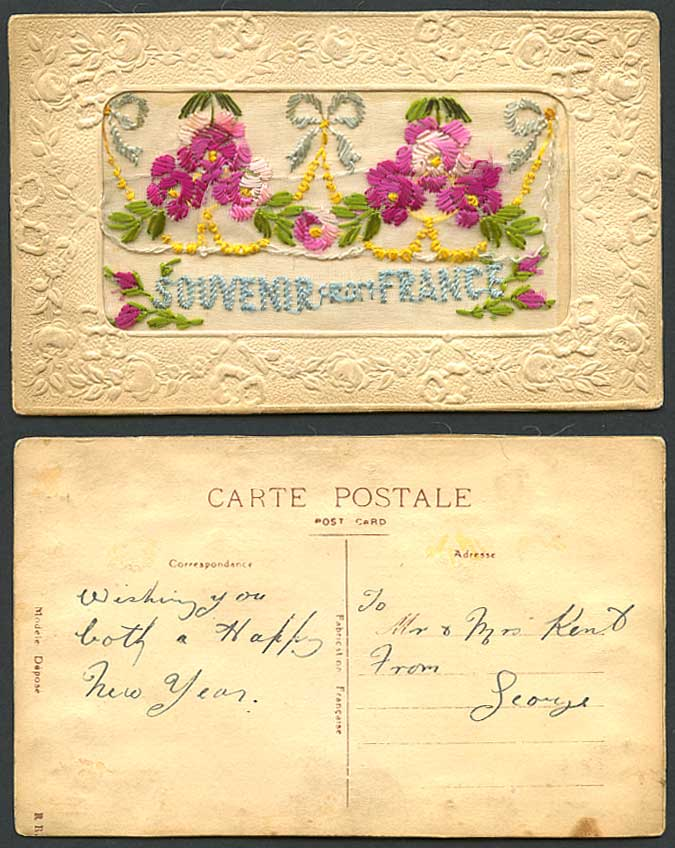 WW1 SILK Embroidered Novelty Old Postcard Souvenir de France, Flowers and Wallet