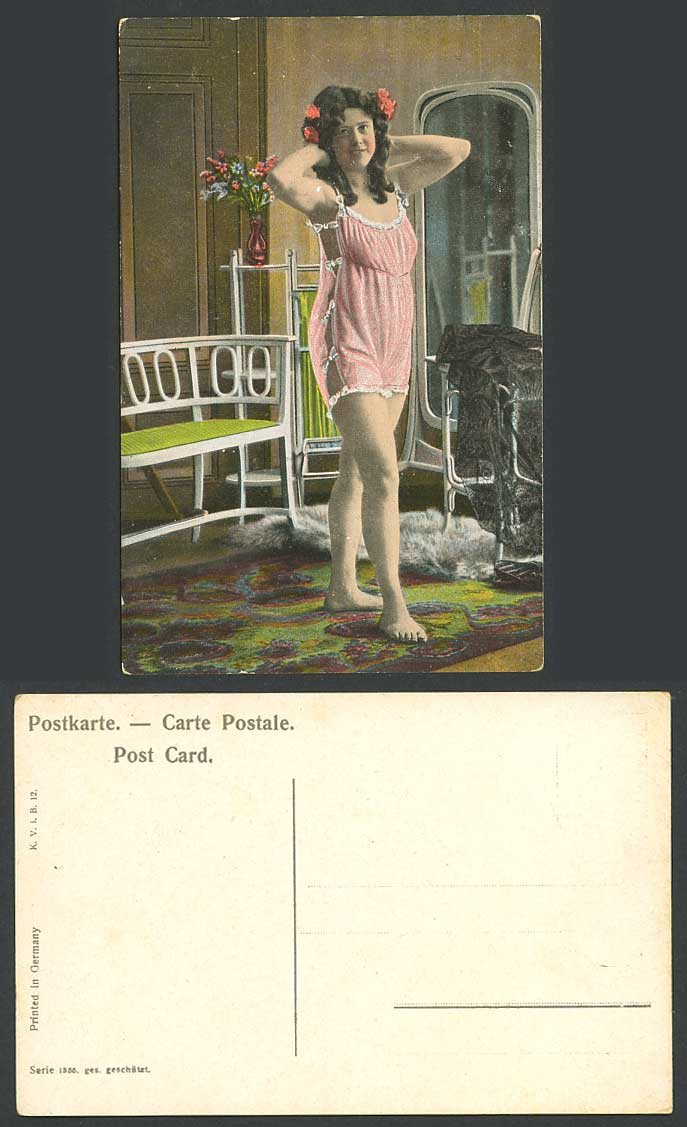 Glamour Lady Woman Girl wearing Pink Lingerie Underwear, Mirror Fur Old Postcard