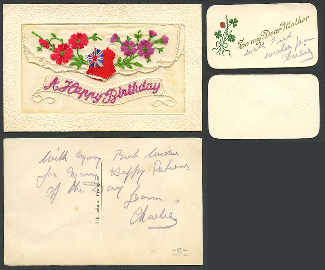 WW1 SILK Embroidered Old Postcard A Happy Birthday To My Dear Mother Flower Flag