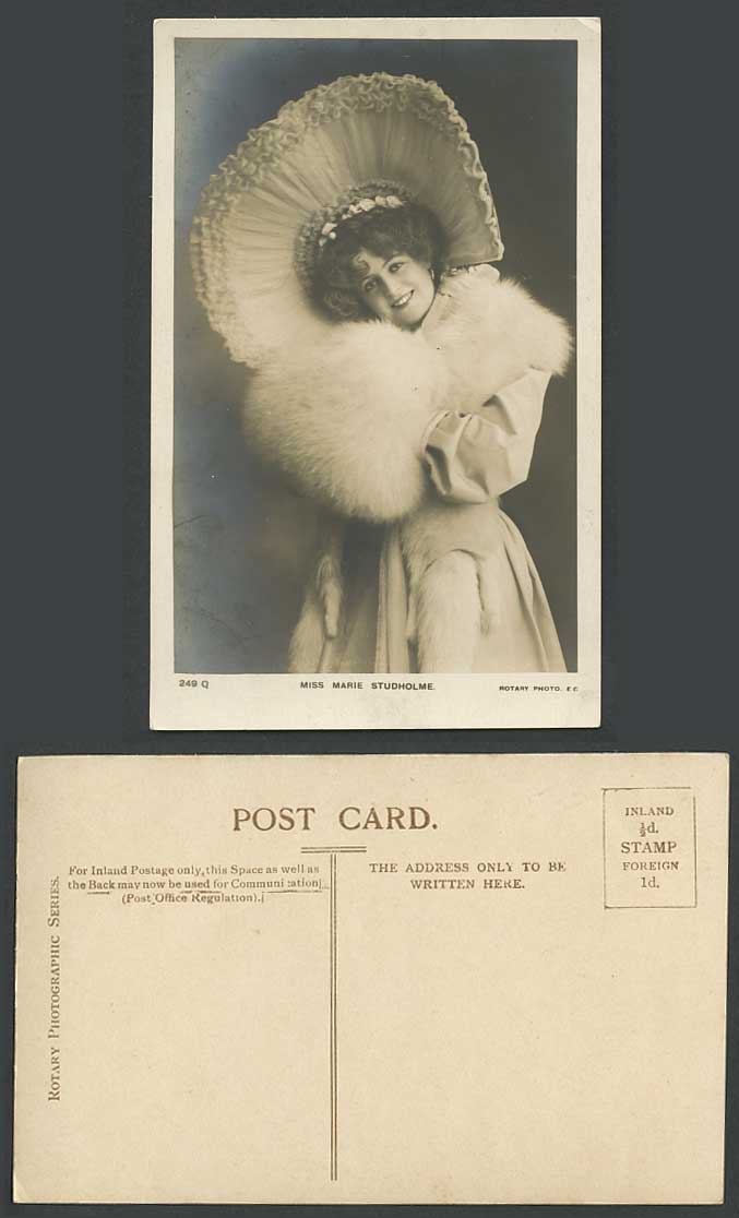 Actress MARIE STUDHOLME Fur Muff Hand Warmer & Large Hat Old Real Photo Postcard