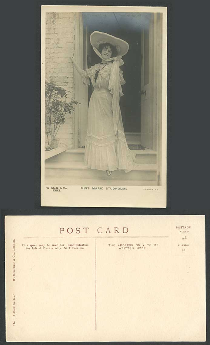 Actress Miss MARIE STUDHOLME wearing a Large Hat Fashion Old Real Photo Postcard