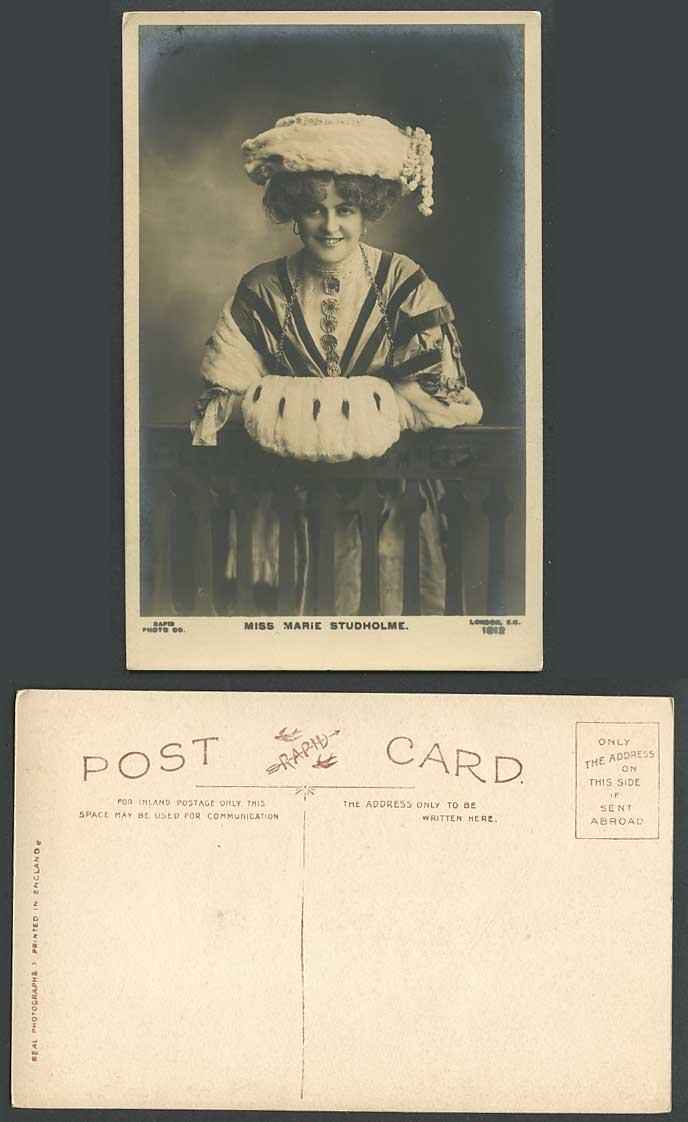 Actress Miss MARIE STUDHOLME Muff Hand Warmer Hat Smile Old Real Photo Postcard