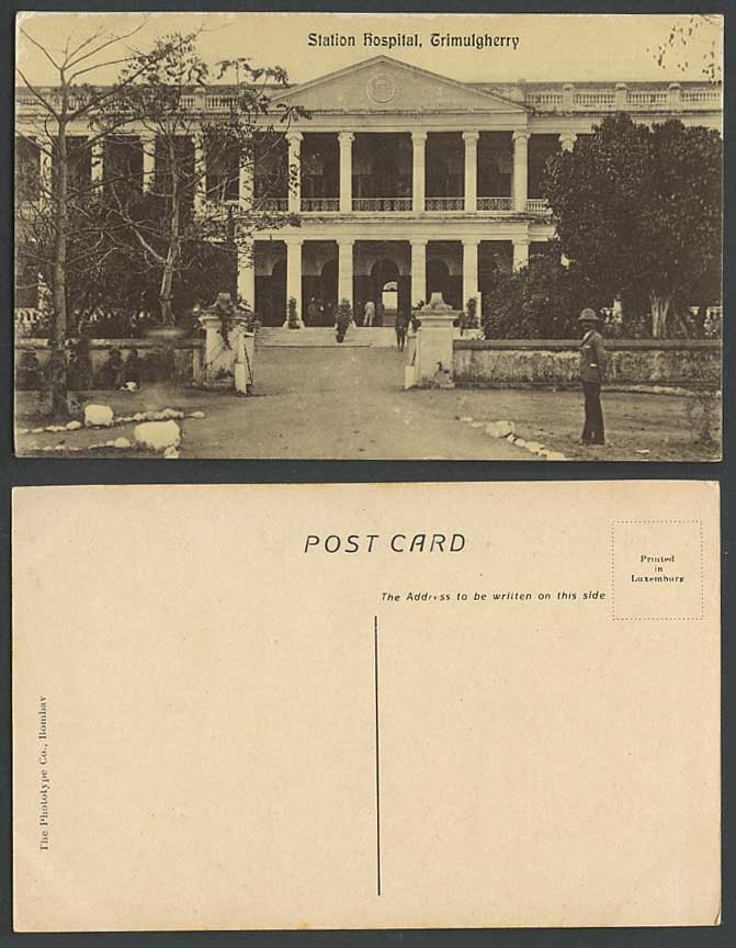 India Old Postcard STATION HOSPITAL Trimulgherry A Man standing nr Entrance Gate