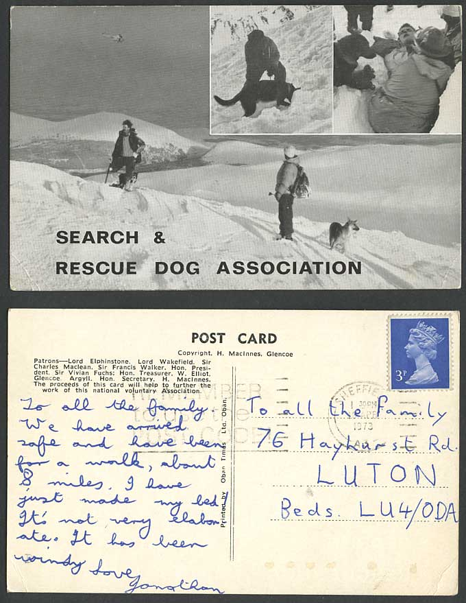 Search & Rescue Dog Association Snowy Mountains Mountaineers 1973 Early Postcard