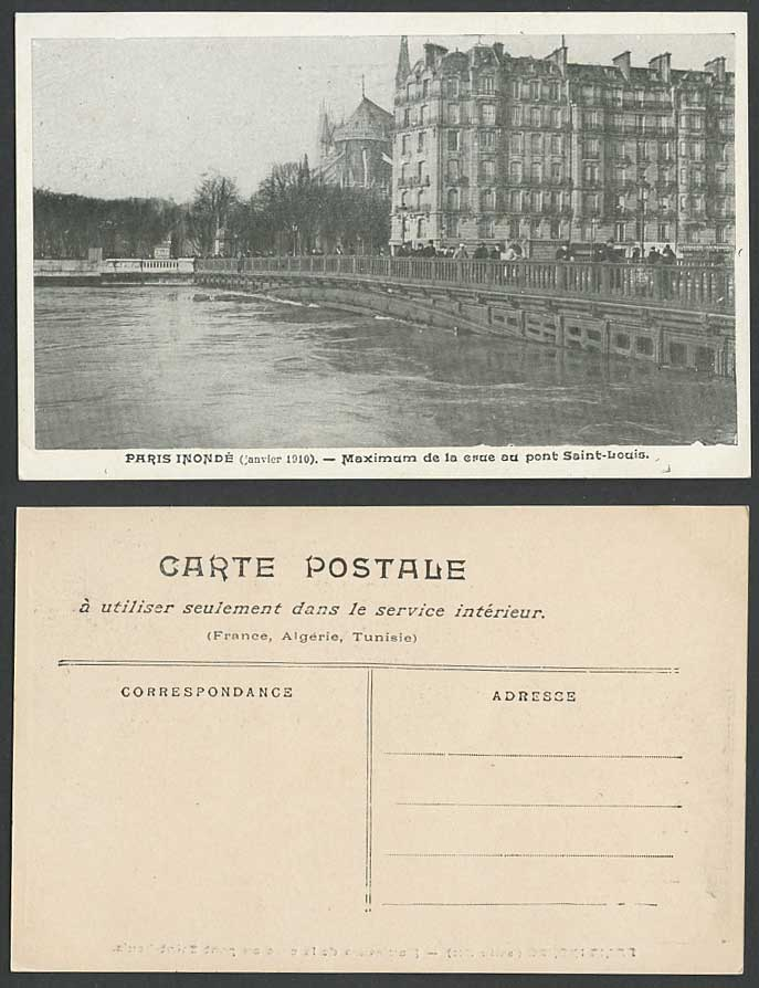 PARIS FLOOD 1910 Old Postcard Maximum de la Crue, Pont Saint-Louis Bridge, Seine