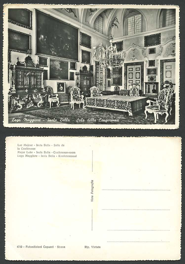Italy Old Postcard Lago Maggiore Major Lake Isola Bella Conference Room Interior