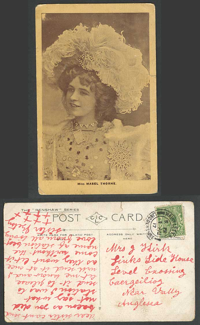 Actress Miss Mabel Throne, Feather Hat, Necklace Glamour Woman 1917 Old Postcard