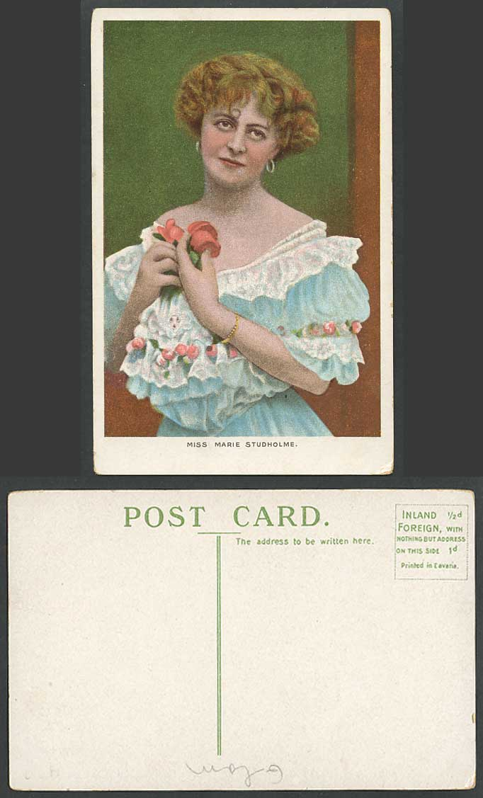 British Actress Miss MARIE STUDHOLME (1875-1930) Flowers Old Colour Postcard