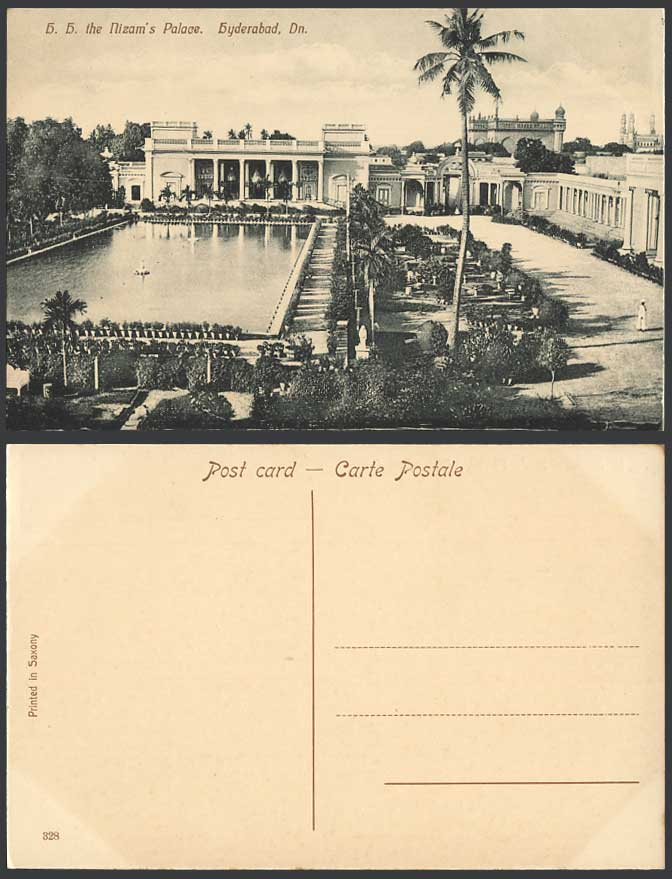 India Old Postcard H.H. THE NIZAM'S PALACE, Hyderabad Dn. Deccan Palm Trees Lake
