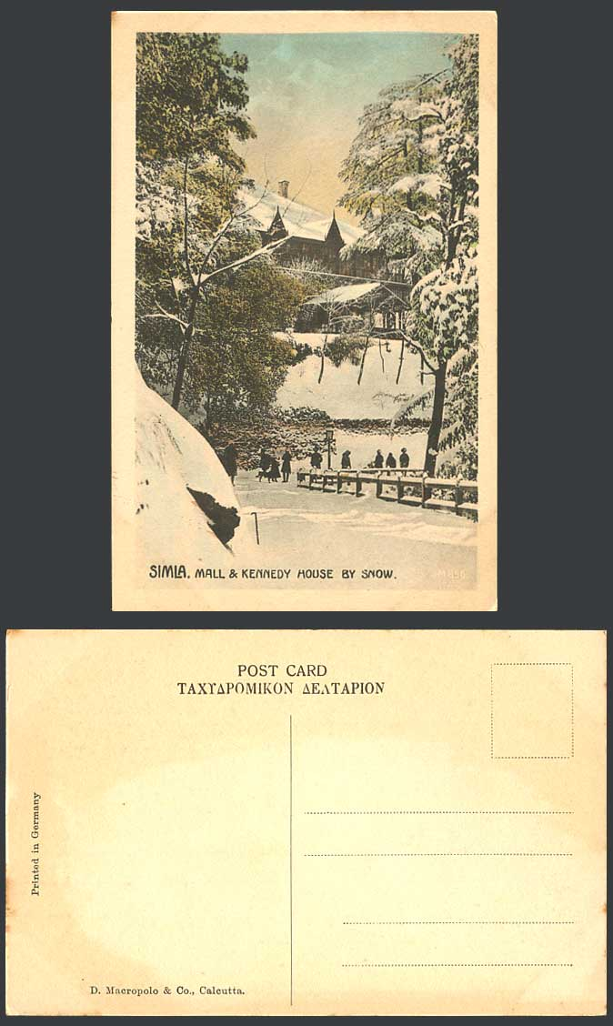 India Old Hand Tinted Postcard MALL & KENNEDY HOUSE by Snow, Simla, Winter Snowy