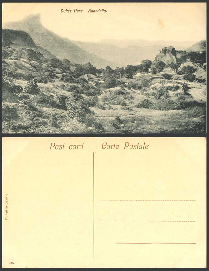 India Old Postcard DUKES NOSE KHANDALLA Railroad Railway Mountain Hills Panorama
