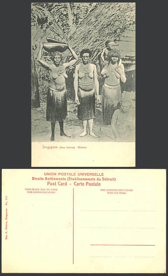Singapore Old Postcard New Guinea Women Child Boy Costumes