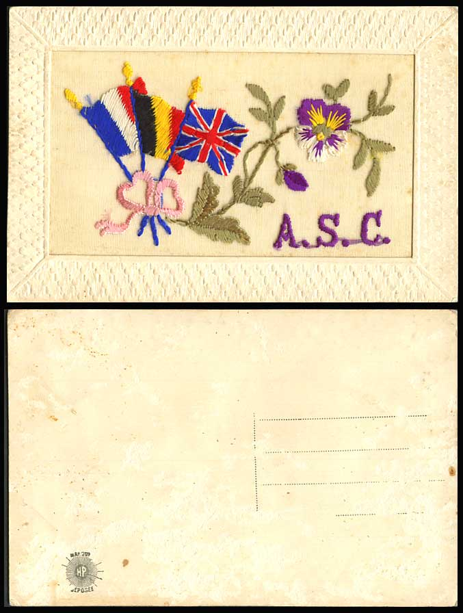 WW1 SILK Embroidered Old Postcard A.S.C. ARMY SERVICE CORP. Flags, Pansy Flowers