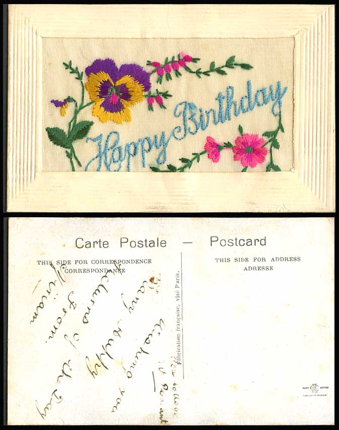 WW1 SILK Embroidered Old Postcard Happy Birthday Pansy Flowers Novelty Greetings