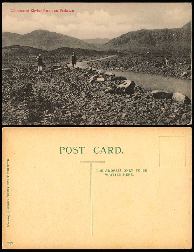 Pakistan Old Postcard Entrance of Khyber Pass Peshawar, Hills, Afghanistan India