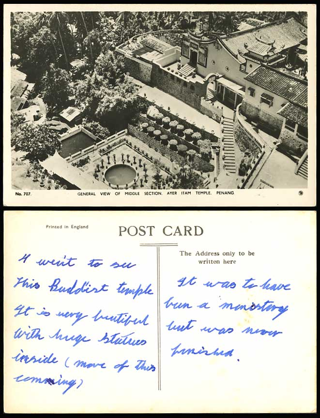 Penang Old Real Photo Postcard Chinese Temple Ayer Itam Middle Section Gen. View
