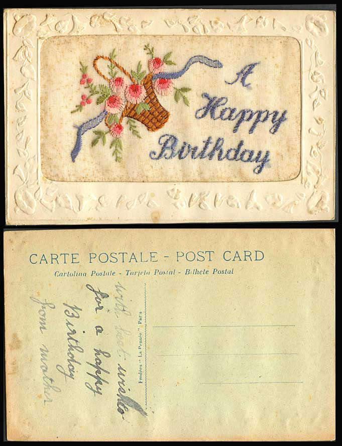 WW1 SILK Embroidered Old Postcard A Happy Birthday Flower Basket Flowers Novelty