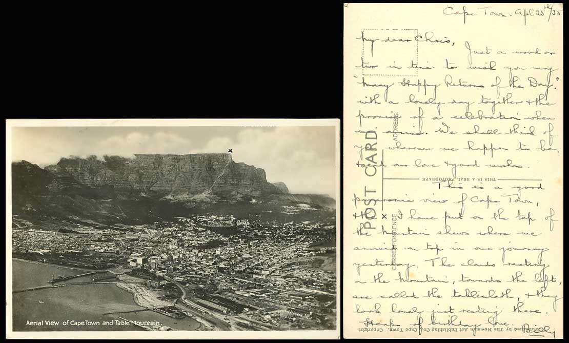 South Africa Aerial View Cape Town Table Mountain, Lion's Head 1935 Old Postcard