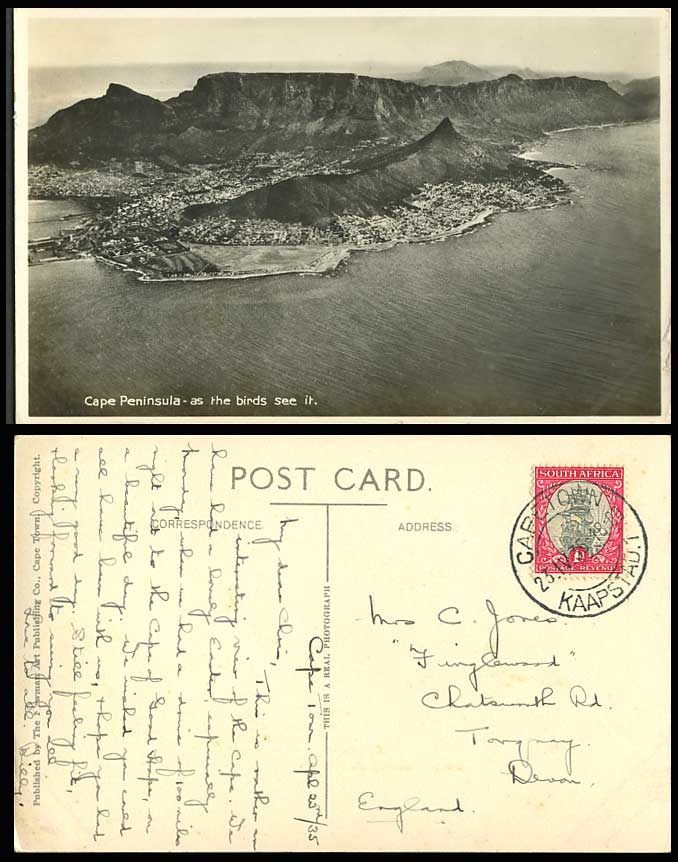 South Africa 1935 Old RP Postcard CAPE PENINSULA as Bird see it, Bird's Eye View