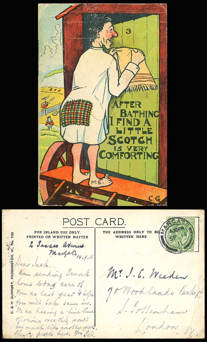 C.G. 1911 Old Postcard After Bathing I Find a Little Scotch is very Comforting
