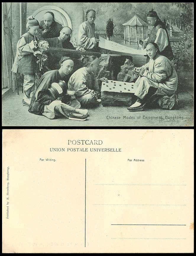 Hong kong china old postcard chess chinese mode of