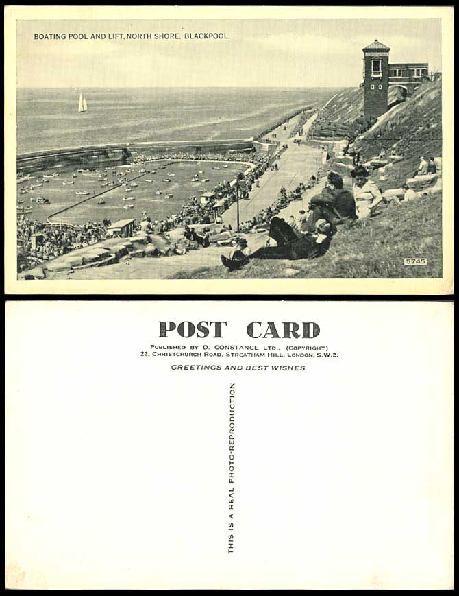 Blackpool Boating Pool and Lift North Shore Boats Seaside Panorama Old Postcard