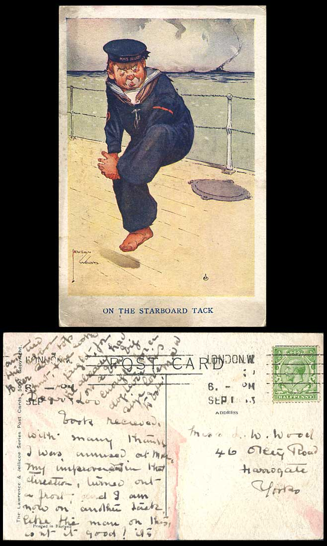 LAWSON WOOD 1913 Old Postcard On The Starboard Tack HMS Jellicoe Hat Navy Seaman