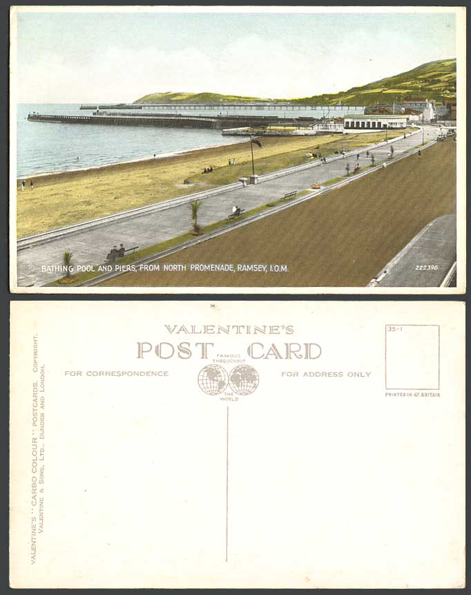 Isle Of Man Old Postcard Bathing Pool Piers From North Promenade Ramsey Panorama For Sale