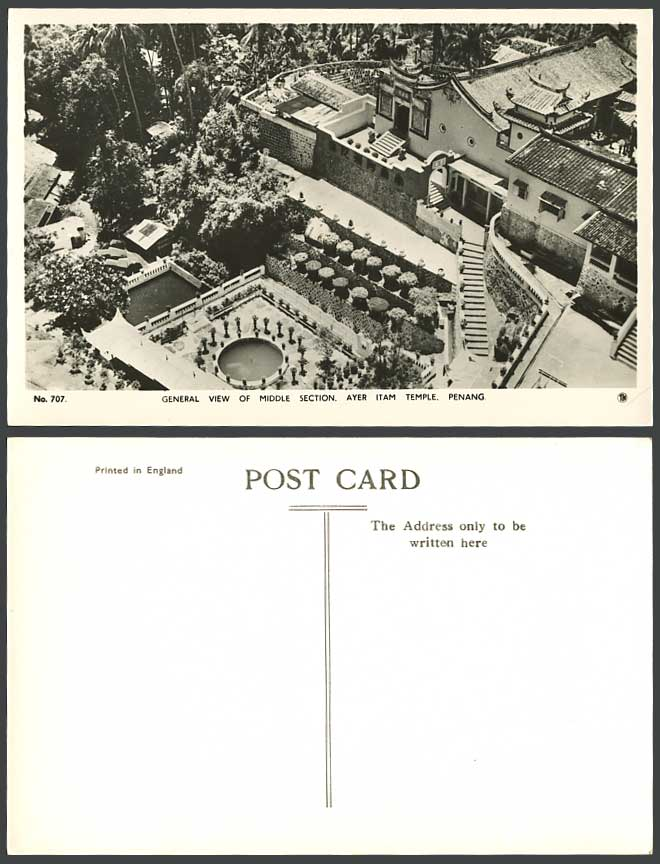 Penang Old R.P. Postcard Chinese Temple Ayer Itam General View of Middle Section