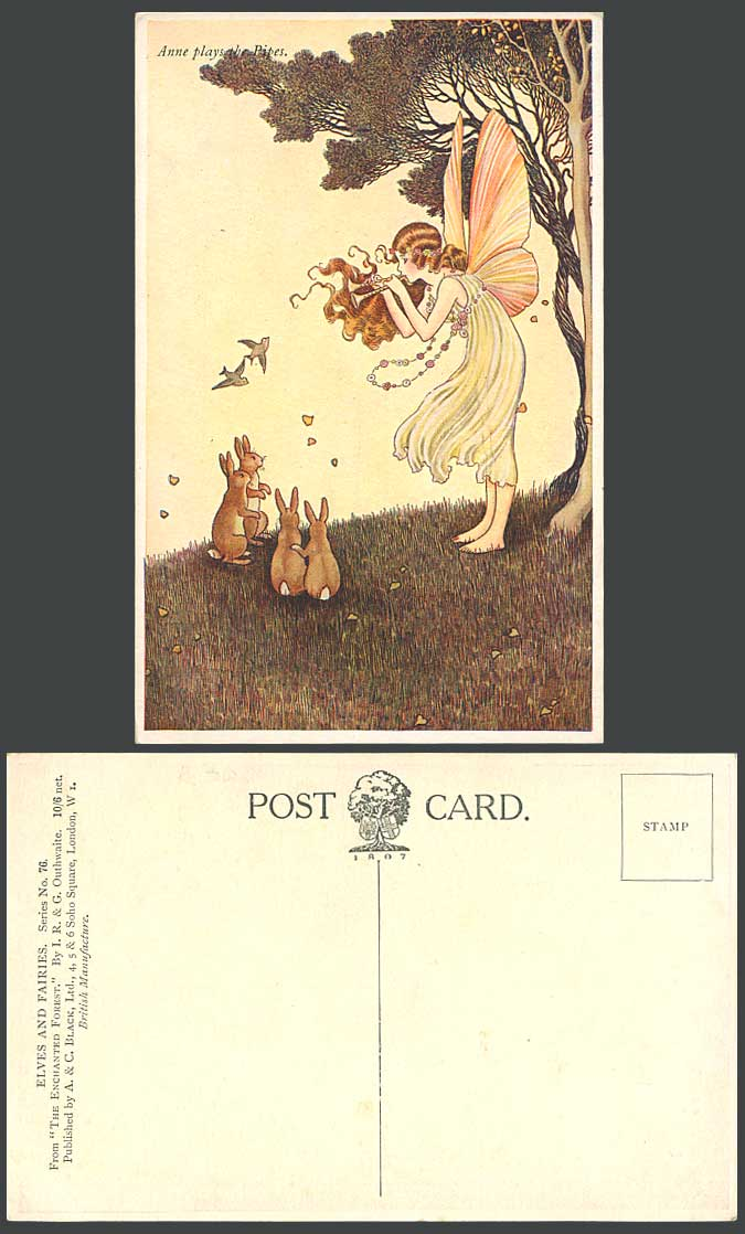 I.R OUTHWAITE Old Postcard Fairy Anne Plays The Pipes Rabbit Enchanted Forest 76
