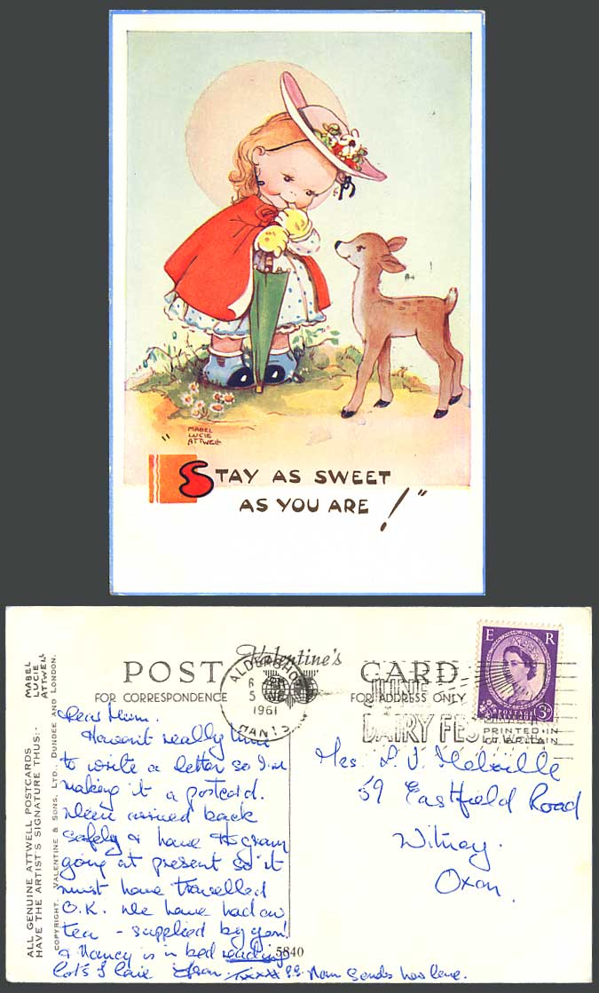 MABEL LUCIE ATTWELL 1961 Old Postcard Girl & Deer Stay as Sweet as You Are! 5840