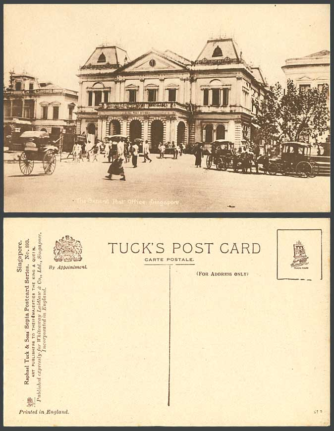 Singapore Old Tuck's Postcard General Post Office, Street Scene, Rickshaw Coolie
