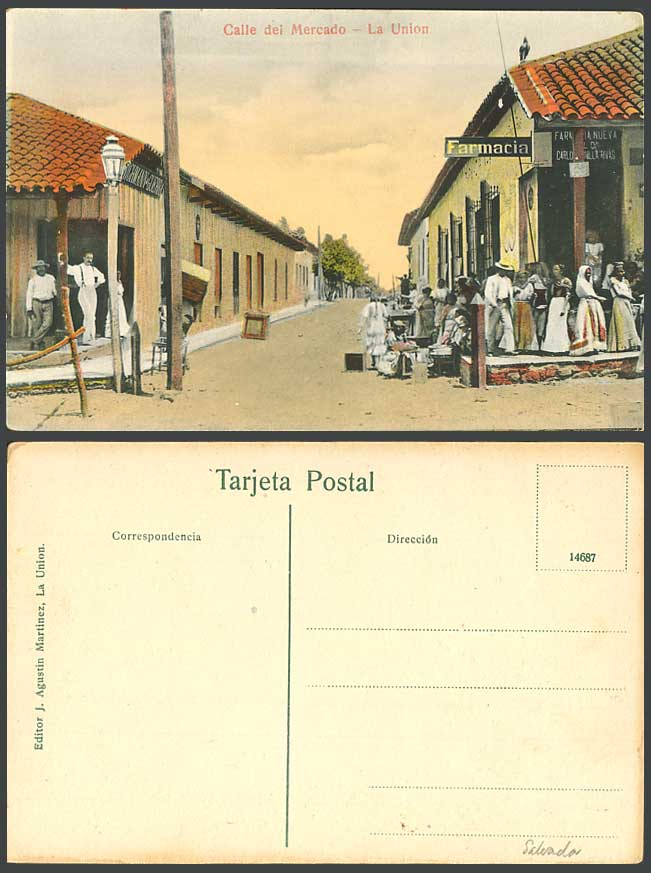El Salvador Old Postcard Calle del Mercado La Union Market Street Scene Pharmacy