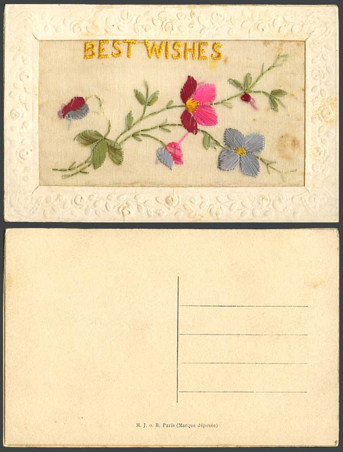 WW1 SILK Embroidered Old Postcard Best Wishes Flowers & Leaves Novelty Greetings