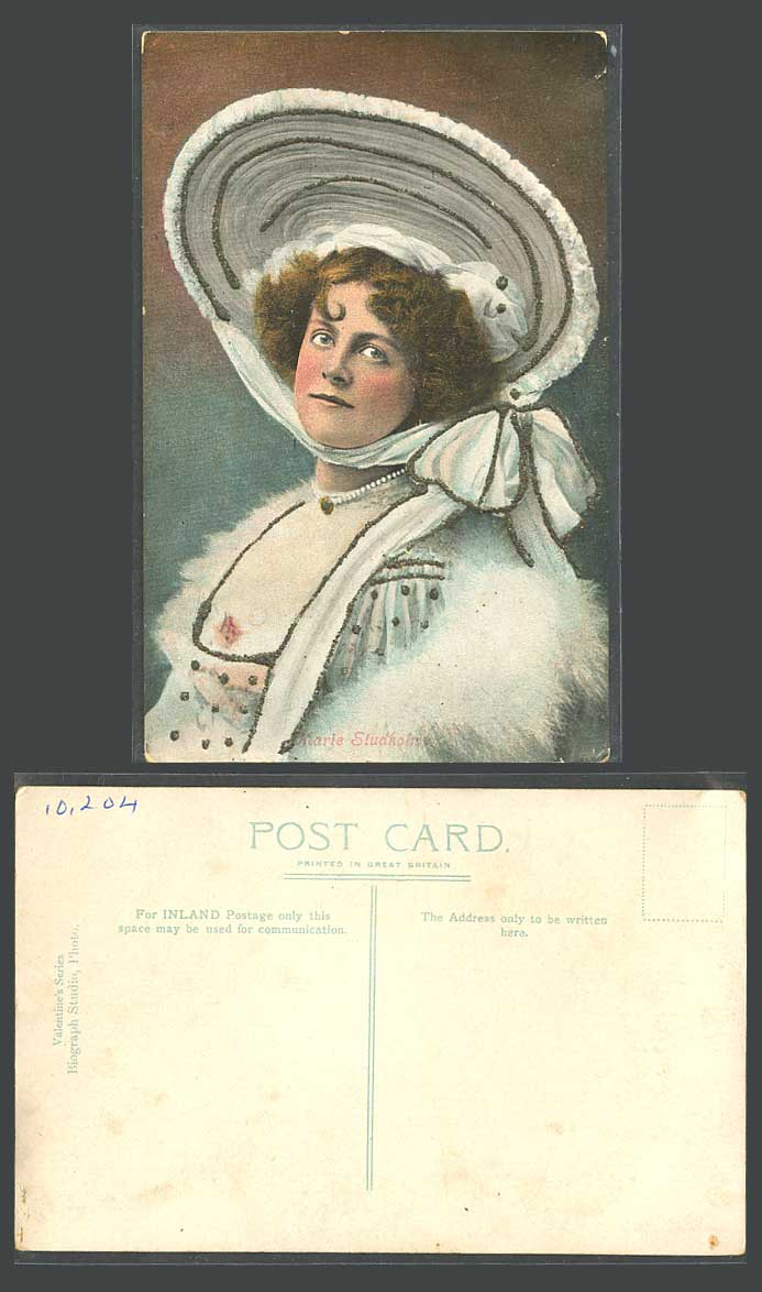 Actress Miss MARIE STUDHOLME Novelty with Glitters Hat, Fur Glamour Old Postcard