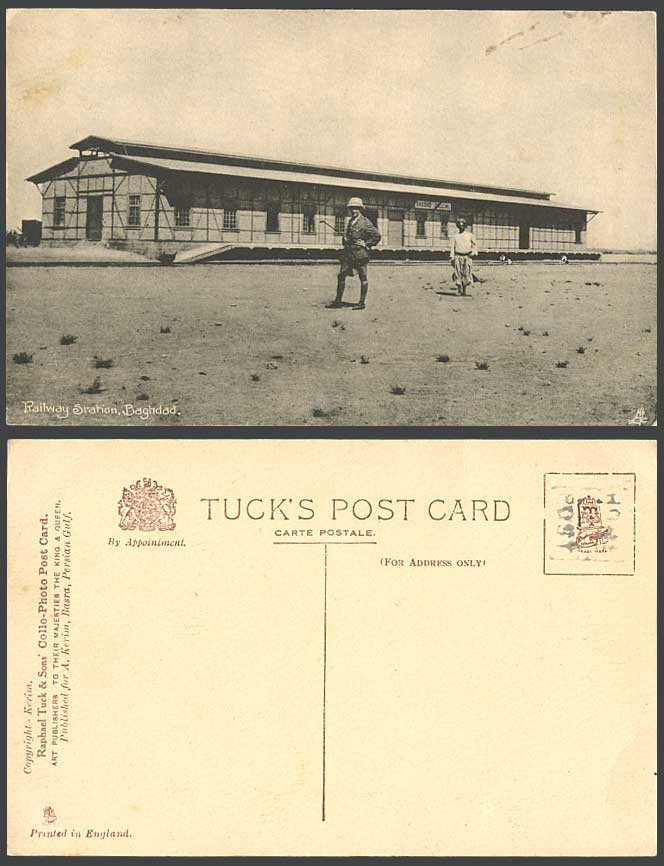 Iraq Old Tuck's Postcard Baghdad Railway Station, Bagdad Train Station, Soldier