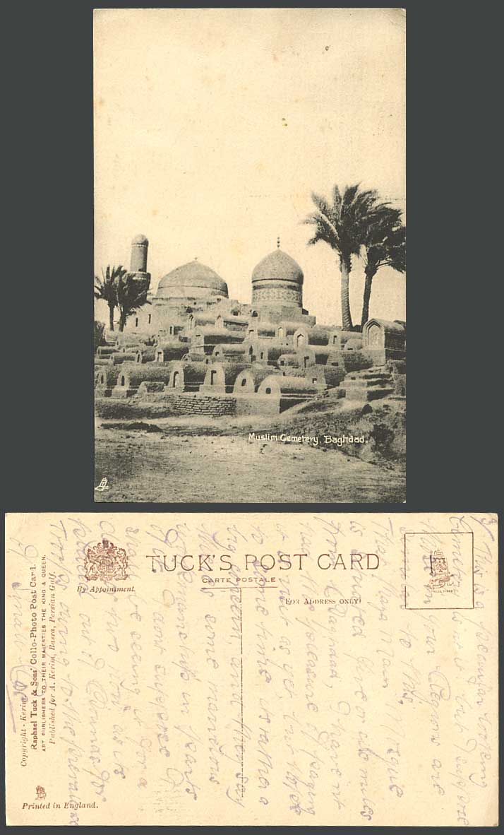 IRAQ Old Tuck's Postcard Baghdad Muslim Cemetery, Bagdad Tombs Graves Palm Trees