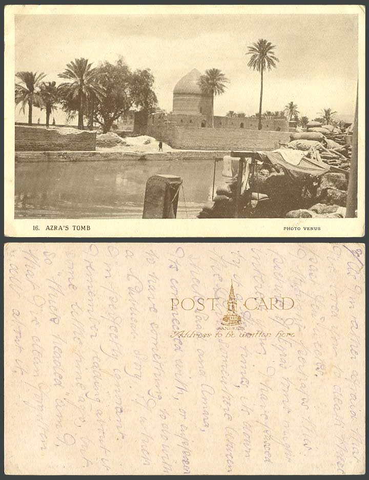 IRAQ Old Postcard Azra's Tomb Palm Trees River Scene Cargo Boats Photo Venus 16.