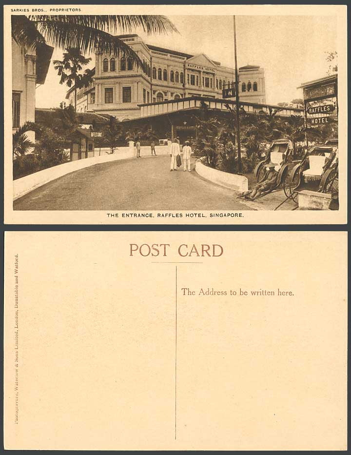 Singapore Old Postcard The Entrance RAFFLES HOTEL Rickshaw