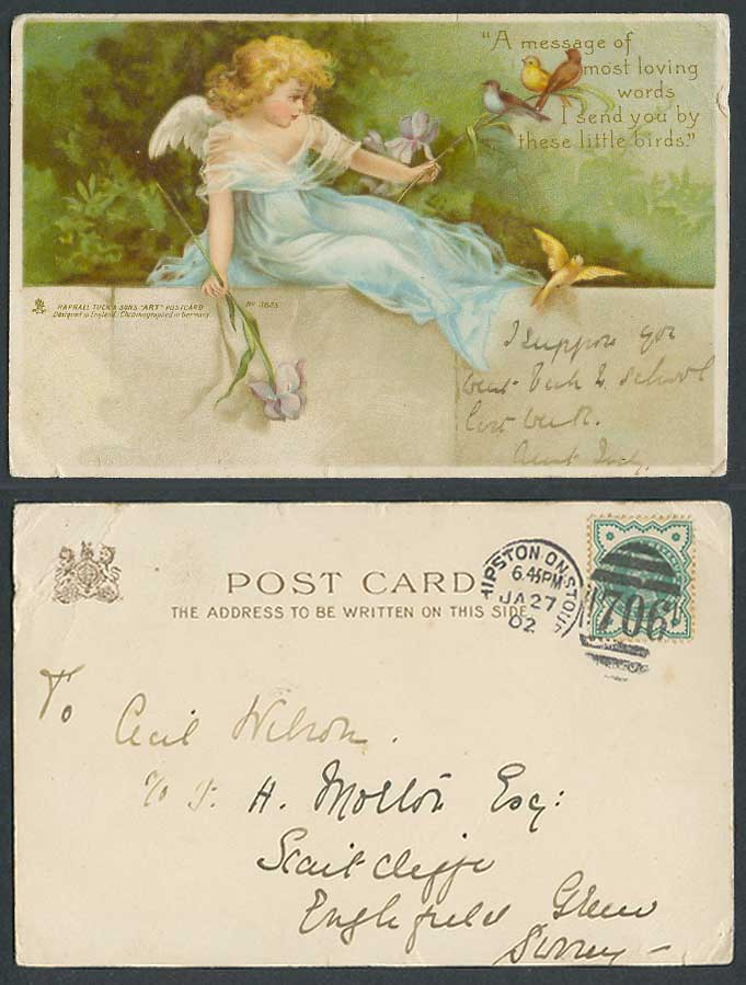 Girl Angel Birds, Message of Loving Words QV 1 1/2d 1902 Old Tuck's Art Postcard