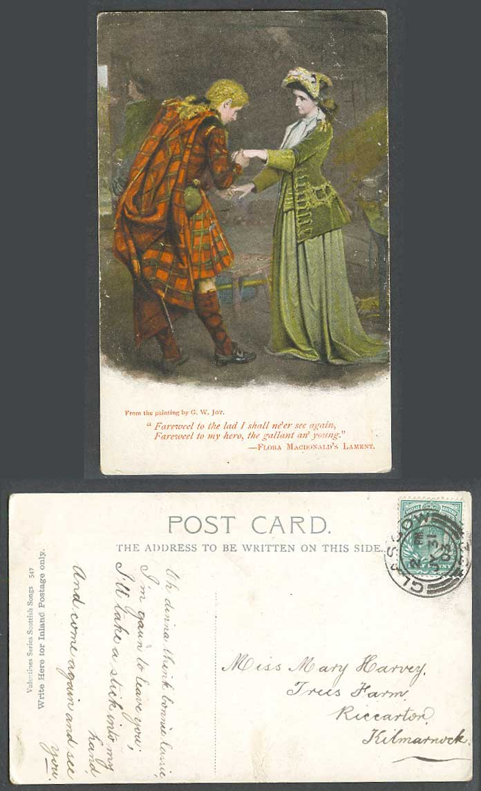 GW Joy Scottish Song Farewell to my Hero F. MacDonald's Lament 1903 Old Postcard